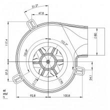 Вентилатор димни газове 330m3/h 77W Десен -Датчик Хол